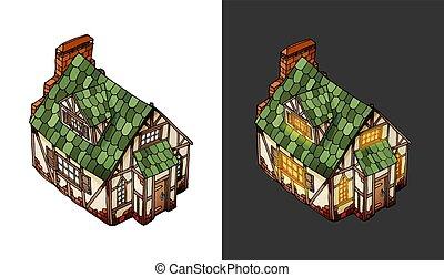 等量, 徘徊, 老, house., 對象, 變量, 矢量, mansion., 歐洲
