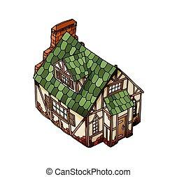 等量, 老, 對象, house., 被隔离, 矢量, 白色, mansion., 歐洲