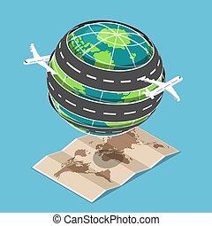 等量, 運輸, 大約, 飛機, 盤旋, world., 路