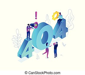 等量, 鮮艷, 現代, -, 插圖, 404, 矢量, 錯誤, 頁