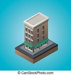 等量, 3d, 居住, 建筑物。