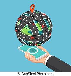 等量, smartphone, 大約, 盤旋, 世界, 浮動, 路