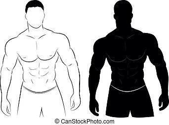 筋肉, シルエット, 人