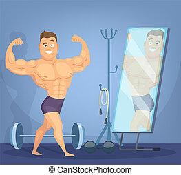 筋肉, 人, ポーズを取る, a, 前部, の, 鏡。, ボディービルダー, 地位, 中に, 静的, ポーズを取りなさい