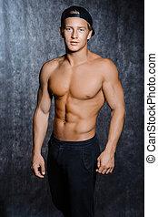 筋肉, 人, 中に, 帽子, ∥で∥, a, 裸である, トルソ