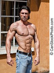 筋肉, 人, 若い, 体, ハンサム, ジーンズ, shirtless, 身に着けていること