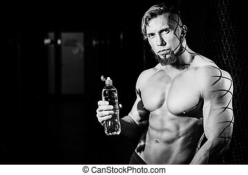 筋肉, 人, 若い, 白, びん, 黒, ハンサム, water., 写真