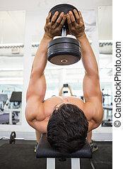 筋肉, 運動, ジム, 人, ダンベル