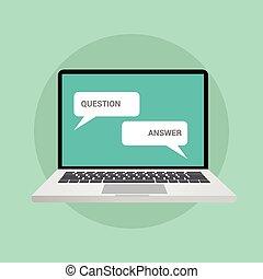 答え, 概念, 質問, チャット, イラスト