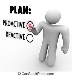 策略, 反应, 控告, 拿, 计划, 或者, proactive, 选择