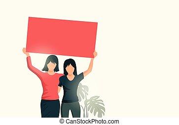 , 签署, 二, 握住, 空白, 妇女
