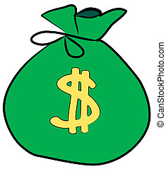 签署, 钱, 美元, 袋子, 前面