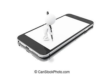 签署, smartphone, 人们, contract., 白色, 3d