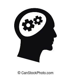 简单, 图标, 头, 风格, 齿轮