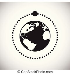 简单, 现代, 设计, trendy, 地球, 设计, 网, concept., 月亮, 因特网, 白色, 符号, 网站, 标志。, 背景, 图标, 图表, 运载工具, 按钮, app., 矢量, 或者