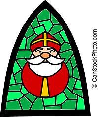 简单, claus., santa, 绿色, 沾污玻璃