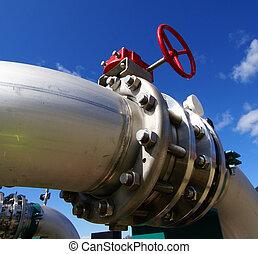 管子, 管子, 电缆, 同时,, 设备, 在, a, 发电厂