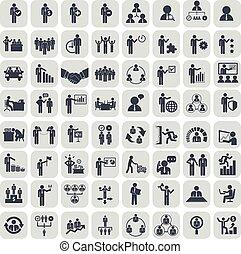 管理, アイコン, set., イラスト, ベクトル, 人的資源