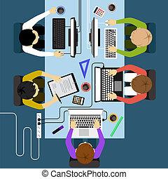 管理, オフィス, ビジネス, 労働者, ブレーンストーミング, ミーティング