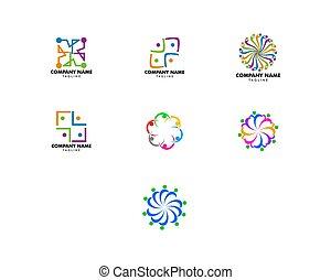 管理, グループ, 人々, セット, チームワーク, ロゴ