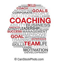 管理, コーチ, 概念, ビジネス