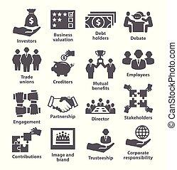 管理, パック, アイコン, ビジネス