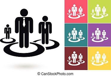 管理, ベクトル, 人的資源, アイコン