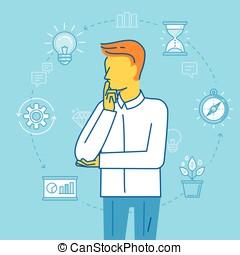 管理, 事務, -, 插圖, 計劃, 時間