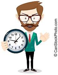 管理, 事務, concept., clock., 時間, 人