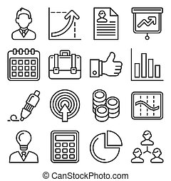 管理, 人的資源, スタイル, ベクトル, 線, ビジネス, アイコン, set.