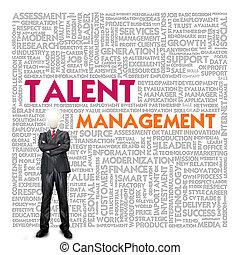 管理, 単語, ビジネス 概念, 才能, 雲