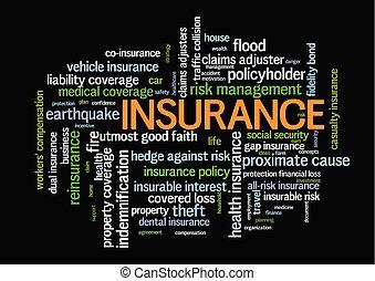 管理, 単語, 危険, 関係した, タグ, 言葉, 保険, 雲