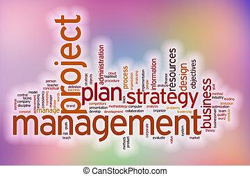 管理, 単語, 抽象的, プロジェクト, 背景, 雲