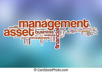 管理, 単語, 抽象的, 資産, 背景, 雲
