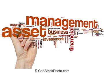 管理, 単語, 資産, 雲