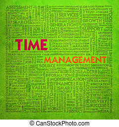 管理, 単語, 金融, ビジネス 概念, 時間, 雲