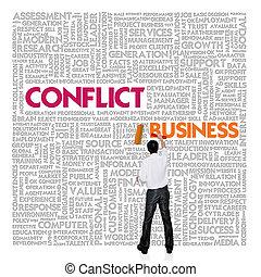 管理, 単語, 金融, ビジネス 概念, 雲, 対立