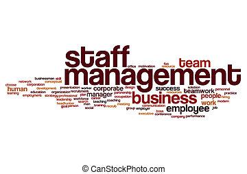 管理, 単語, 雲, スタッフ