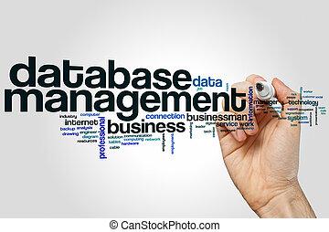 管理, 単語, 雲, データベース