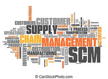 管理, 単語, 雲, 鎖, 供給