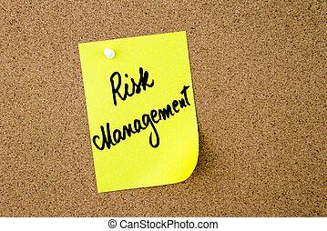 管理, 危険, 黄色のノート, 書かれた, ペーパー