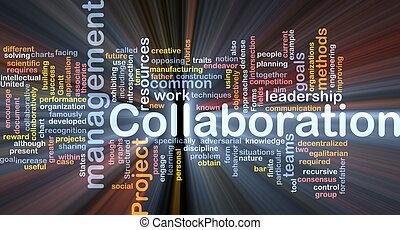 管理, 合作, 概念, 發光, 背景