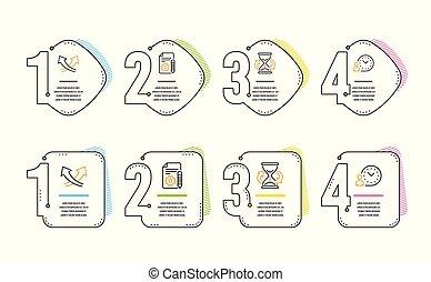 管理, 圖象, set., 箭, 檔案, 矢量, 時間, 交叉點, 徵候。, hourglass
