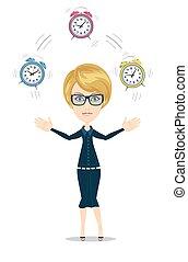 管理, 婦女, 概念, character., 時間