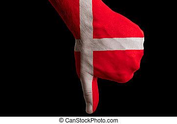 管理, 拇指, 丹麥, 國家, 文化, 消極, 手, 下來, 旗, 政治, 國家, 上色, 符號, 姿態, 社會