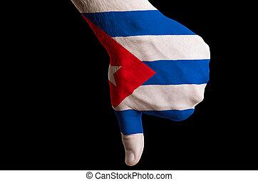 管理, 拇指, 古巴, 政治, 國家, 文化, 消極, 手, 下來, 旗, 社會, 國家, 符號, 姿態, 上色