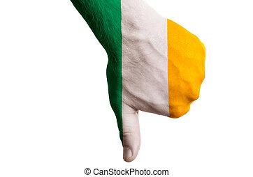 管理, 拇指, 政治, 國家, 文化, 消極, 手, 下來, 旗, 愛爾蘭, 社會, 國家, 符號, 姿態, 上色