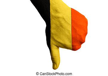 管理, 拇指, 政治, 國家, 文化, 消極, 手, 下來, 旗, 社會, 比利時, 國家, 符號, 姿態, 上色