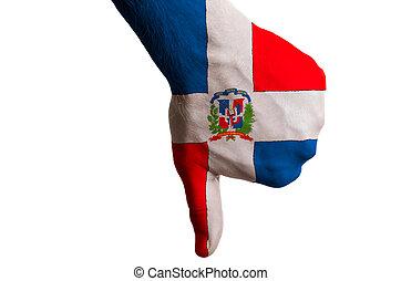 管理, 拇指, 政治, 國家, 文化, 消極, 手, 下來, 旗, 社會, 國家, 上色, 符號, 姿態, 多米尼加人