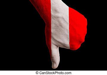 管理, 拇指, 政治, 國家, 文化, 消極, 手, 下來, 旗, 秘魯, 社會, 國家, 符號, 姿態, 上色